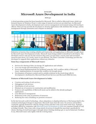 Microsoft Azure Development in India