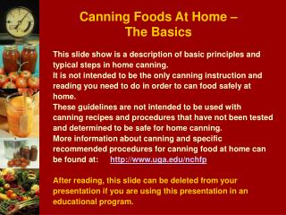 Canning Foods At Home   The Basics