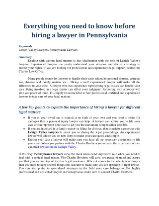 Everything you need to know before hiring a lawyer in Pennsylvania