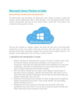 Microsoft Azure Partner in India