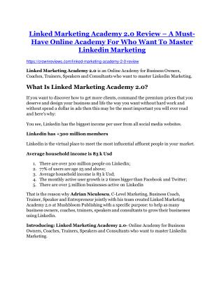 Linked Marketing Academy 2.0 review - Linked Marketing Academy 2.0 $27,300 bonus & discount