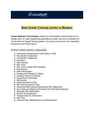 Best Oracle Training Center in Miyapur