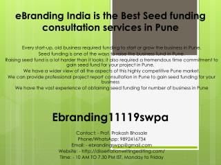 eBranding India is the Best Seed funding consultation services in Pune