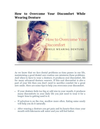 How to Overcome Your Discomfort While Wearing Denture