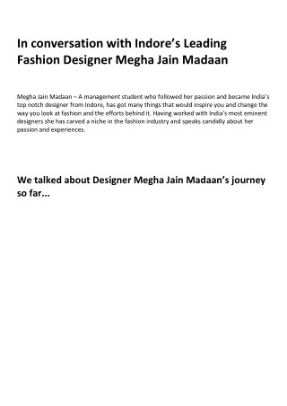 In conversation with Indore's Leading Fashion Designer Megha Jain Madaan