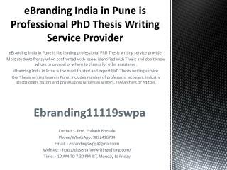 eBranding India in Pune is Professional PhD Thesis Writing Service Provider