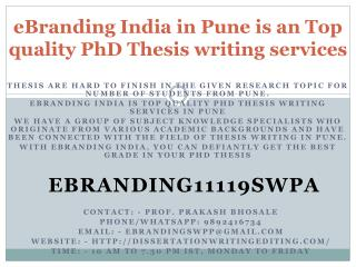 eBranding India in Pune is an Top quality PhD Thesis writing services