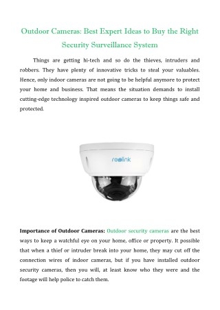 Outdoor Cameras : Best Expert Ideas to Buy the Right Security Surveillance System
