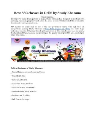 Best SSC classes in Delhi by Study Khazana