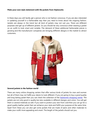 Stylework - Make Your Own Style Statement With the Jackets From Styleworks