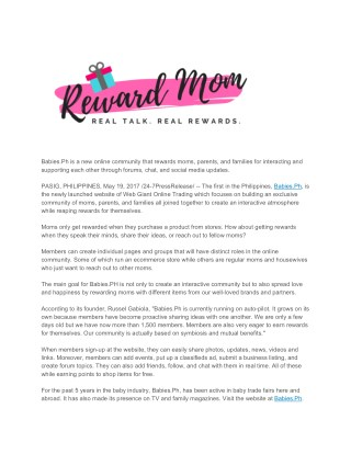 Babies.Ph Online Rewards Community for Moms