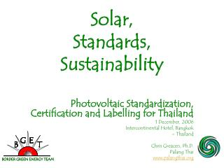 Solar, Standards, Sustainability