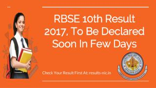RBSE 10th Result 2017, To Be Declared Soon In Few Days