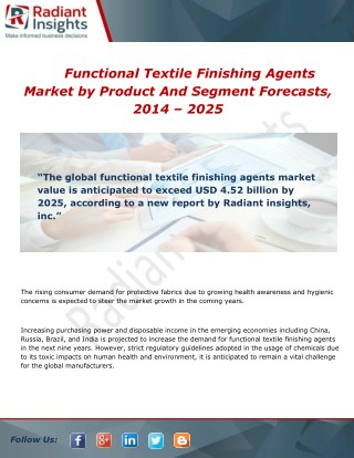 Functional Textile Finishing Agents Market Size and Forecast 2014 - 2025