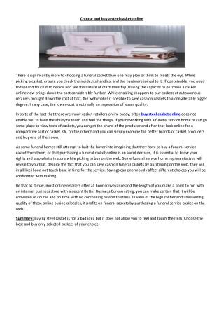 Buy steel casket online