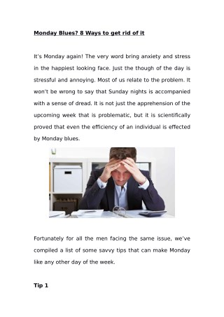 Monday Blues? 8 Ways to get rid of it
