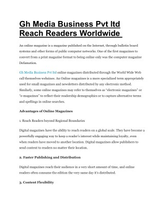 Gh Media Business Pvt ltd Reach Readers Worldwide