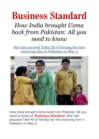 How India brought Uzma back from Pakistan: All you need to know