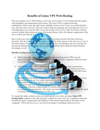 Benefits  of Linux VPS Web Hosting