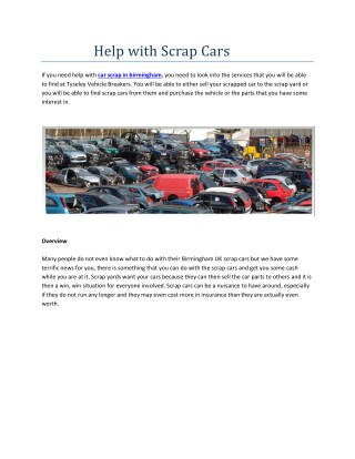Help with Scrap Cars