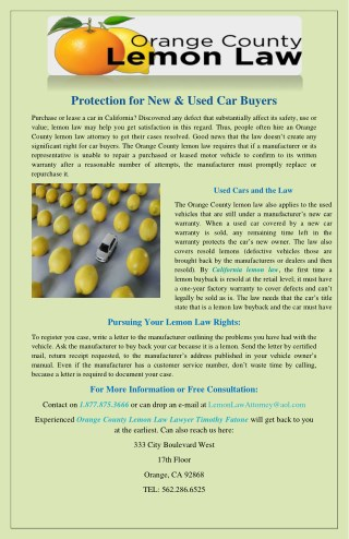 Protection for New & Used Car Buyers