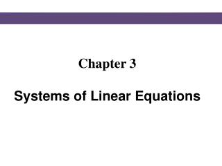 Chapter 3  Systems of Linear Equations