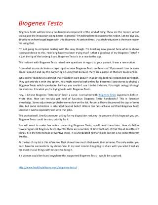 Biogenex Testo - Get Your Free Trial Now !