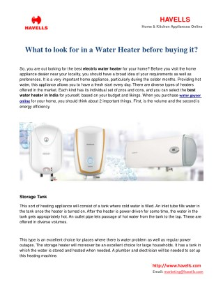 What to look for in a water heater before buying it?