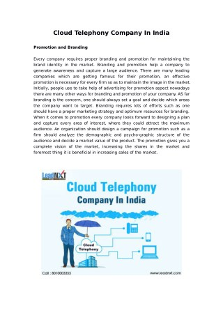 Cloud Telephony Company In India