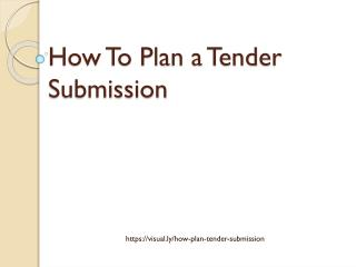 How To Plan a Tender Submission?