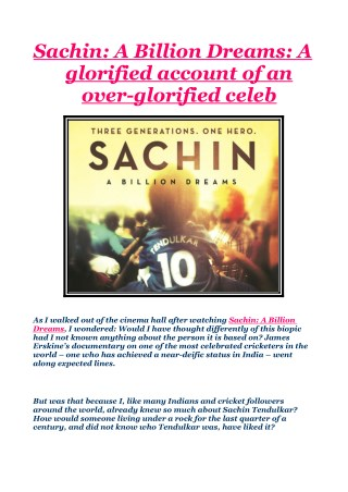 Sachin: A Billion Dreams: A glorified account of an over-glorified celeb