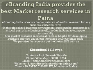 eBranding India provides the best Market research services in Patna