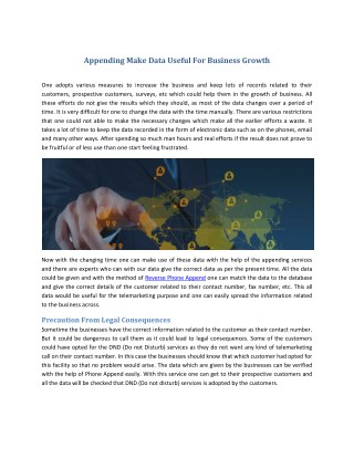 Appending Make Data Useful For Business Growth