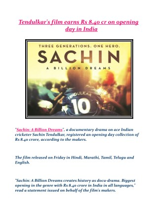Tendulkar's film earns Rs 8.40 cr on opening day in India