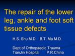 The repair of the lower leg, ankle and foot soft tissue defects