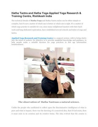 Hatha Tantra and Hatha yoga at Applied Yoga Studio