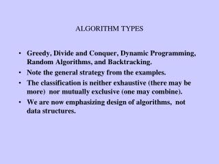 ALGORITHM TYPES