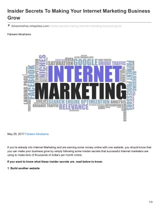 Insider Secrets To Making Your Internet Marketing Business Grow