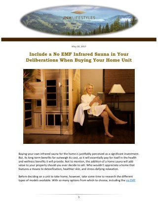 Include a No EMF Infrared Sauna in Your Deliberations When Buying Your Home Unit