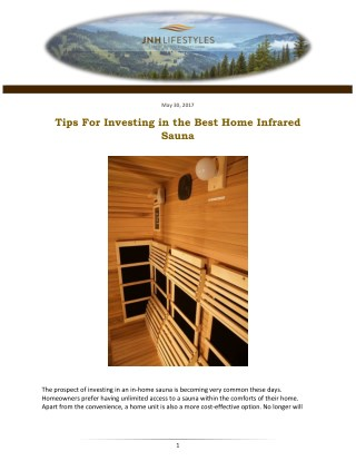 Tips For Investing in the Best Home Infrared Sauna