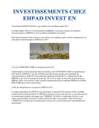 INVESTISSEMENTS CHEZ EHPAD INVEST EN