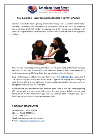 AED Colorado – Approach American Heart Saver to Pursue