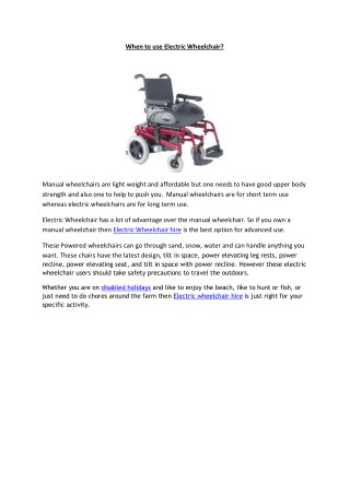 Electric Wheelchair Hire