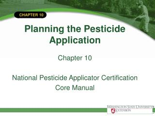 Planning the Pesticide Application