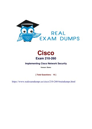 Prepare Cisco 210-260 Final Exam With Realexamdumps.us