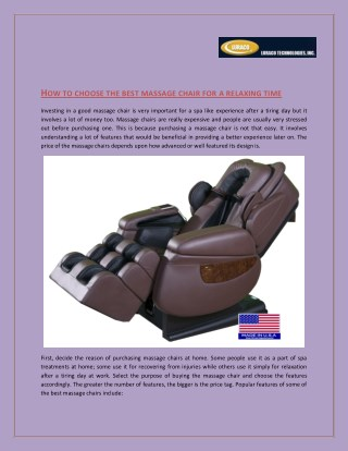 Choose The Massage Chair For Body Relax : LURACO Technologies