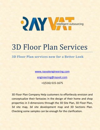 3D Floor Plan Services Now for a Better Look