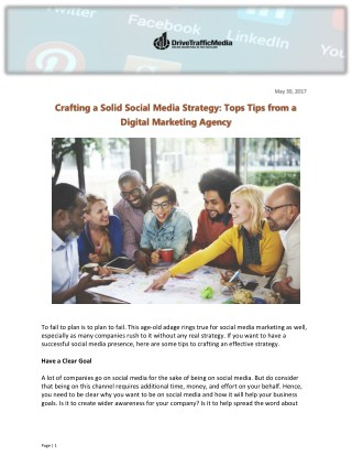 Crafting a Solid Social Media Strategy: Tops Tips from a Digital Marketing Agency