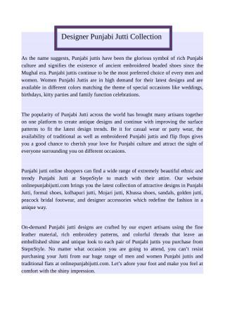 Designer Punjabi Jutti Collection