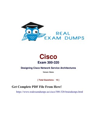 100% Passing Guarantee Cisco 300-320 Exam Dumps | Realexamdumps.us